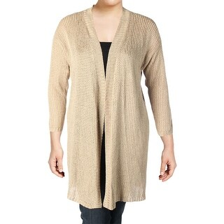Lauren Ralph Lauren Womens Plus Cardigan Sweater Linen Open Front