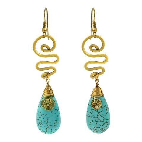 Handmade Graceful Teardrop Shaped Stone w/ Swirling Brass Dangle Earrings (Thailand)