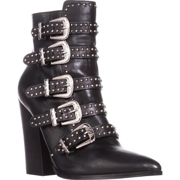 64694ed67e2 Shop Steve Madden Comet Buckle Studded Ankle Boots, Black - Free ...