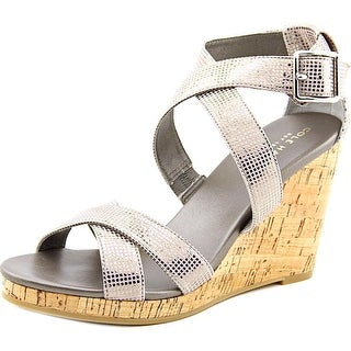 Cole Haan jillian wedge Women Open Toe Leather Gray Wedge Heel