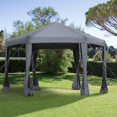 Outsunny 13' x 13' Pop Up Canopy Hexagonal Outdoor Canopy Tent with 6 Mesh Sidewalls & Strong Steel Frame