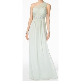Adrianna Papell NEW Green Womens Size 10 Chiffon One-Shoulder Gown
