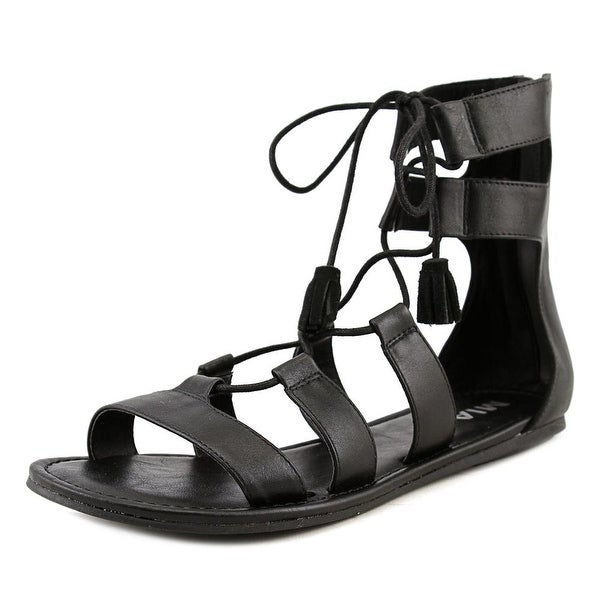 Mia Ozie Women Open Toe Synthetic Black Gladiator Sandal