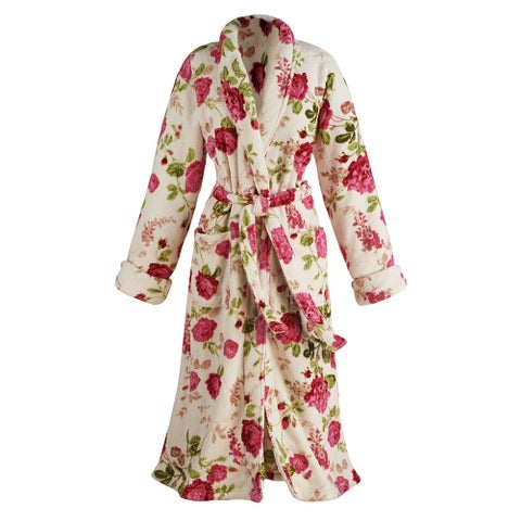 Women's Floral Print Long Cozy Wrap Bathrobe - Shawl Collar Patch Pockets