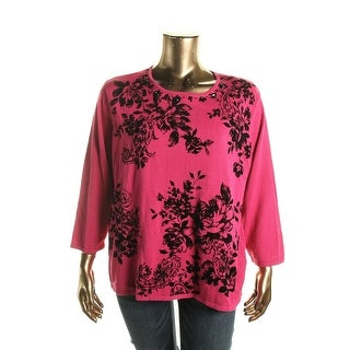 Alfred Dunner Womens Plus Embellished Floral Print Pullover Sweater