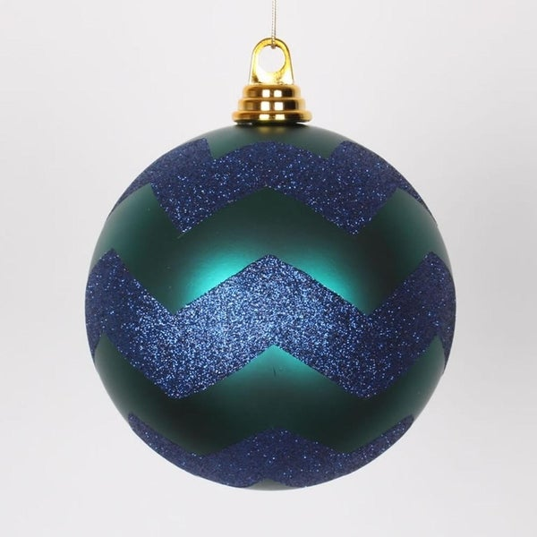 "Teal Green Matte with Sea Blue Glitter Chevron Christmas Ball Ornament 6"" (150mm)"
