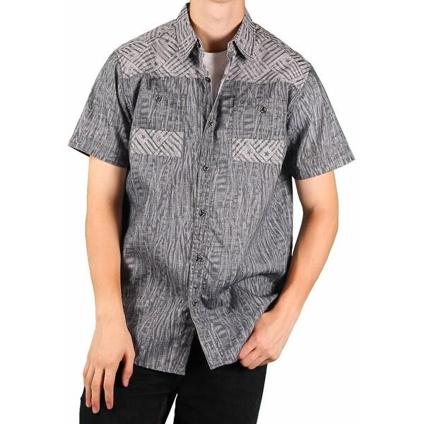 MO7 Men's Printed Chambray Short-Sleeve Woven Shirt