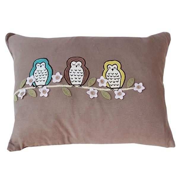Vivai Home Taupe Floral Bird Hoot Hoot Rectangle 12x 16 Feather Cotton Pillow - Dark tan