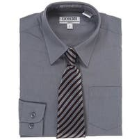 Dark Grey Button Up Dress Shirt Grey Stripe Tie Set Toddler Boys 2T-4T