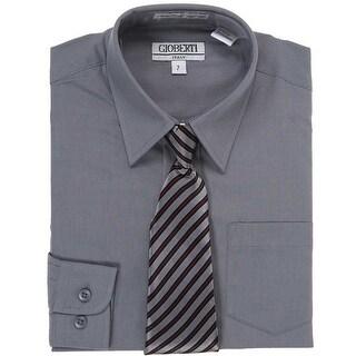 Dark Grey Button Up Dress Shirt Grey Stripe Tie Set Toddler Boys 2T-4T