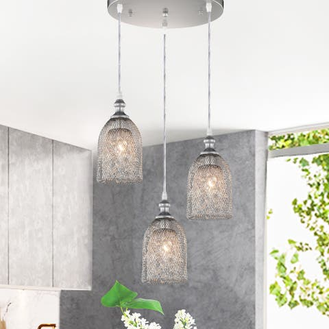 Haydar Silver 3-light Mesh Pendant with Crystals