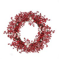 18 in. Decorative Artificial Red Berry Christmas Wreath with Froste