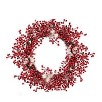 18 in. Decorative Artificial Red Berry Christmas Wreath with Frosted