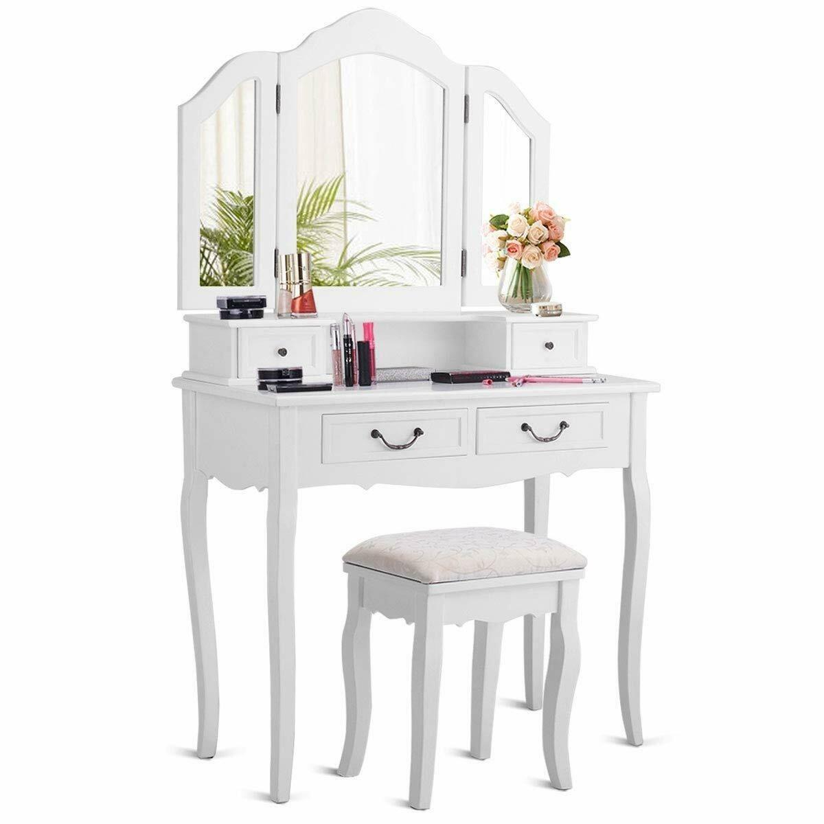 Tri Folding Mirror White Wood