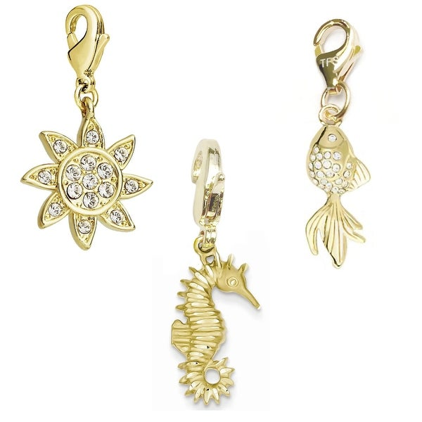 Julieta Jewelry Seahorse, Sun, Goldfish 14k Gold Over Sterling Silver Clip-On Charm Set