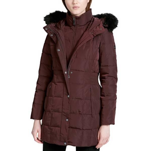 01d0caa60 Shop Calvin Klein Faux Fur Trimmed Hooded Puffer Coat Chianti - 2Xl ...