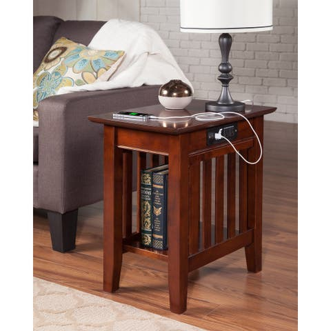 Walnut Finish Mission-style Side Table with Charging Station