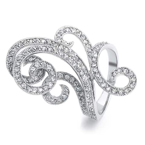 Art Deco Style Pave CZ Swirl Fashion Statement Full Finger Ring For Women Cubic Zirconia Silver Plated Brass