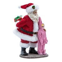 """10"""" Red and Pink Christmas Santa Claus with Ralphie Decorative Tabletop Piece"""