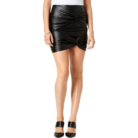 Guess Womens Cole Mini Skirt Faux Leather Knotted