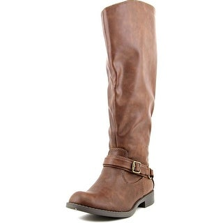Easy Street Plus Wide Calf Women Round Toe Synthetic Brown Knee High Boot