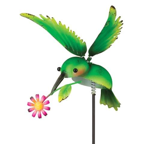 Green Hummingbird Garden Stake