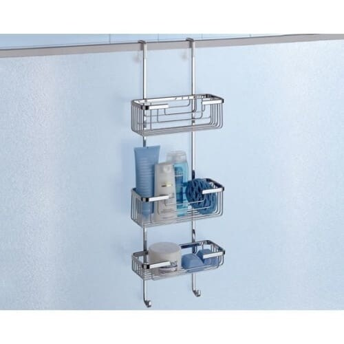 Nameeks 5684 Gedy Wire Collection Wall Mounted Shower Basket - Polished Chrome