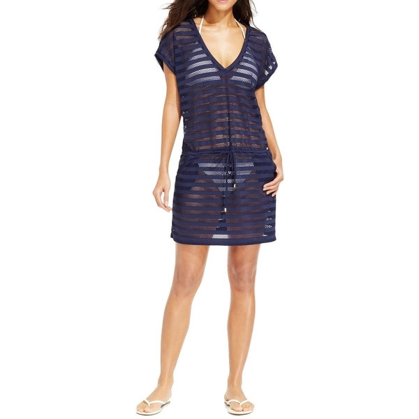 ba8d5bc3de Shop Calvin Klein Womens Crochet Striped Dress Swim Cover-Up - Free ...