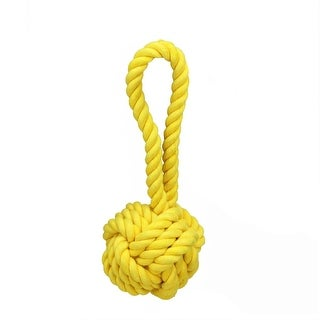 """8"""" Canary Yellow Non-Toxic Heavy Knotted Dog Rope Tug Toy"""