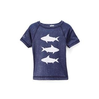 Azul Little Boys Navy White Deep Sea Short Sleeve Rash Guard