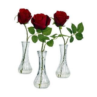 Nearly Natural Rose with Bud Vase Arrangement - Set of 3 Red