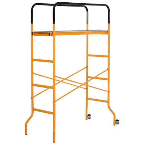 HOMCOM 4-Step Steel Scaffold Organizer Platform 2 Wheels Free Moving for Indoor/Outdoor Decoration