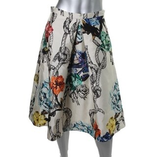 Tibi Womens Silk Floral Print Pleated Skirt - 6