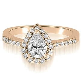 1.25 cttw. 14K Rose Gold Pear And Round Shape Halo Diamond Engagement Ring