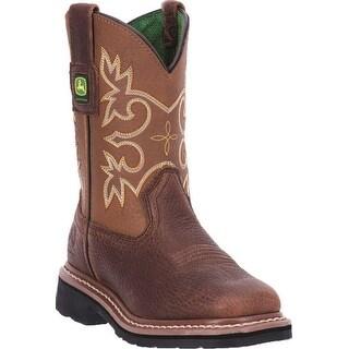 John Deere Boys Girls Mesquite Leather Broad Square Toe Boots 8.5-3