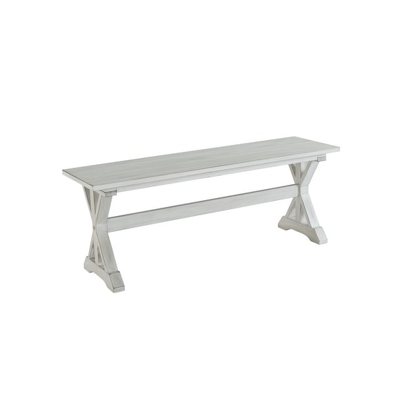 Jamestown Farmhouse Distressed White Dining Bench. Opens flyout.