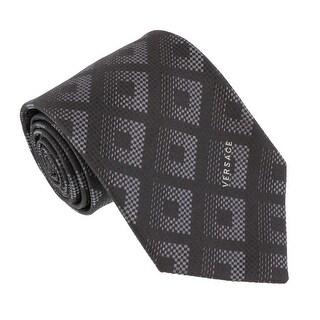 Versace Grey Woven Tonal Check Tie