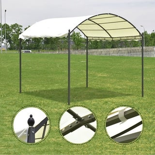 Costway 10'x10' Outdoor Canopy Tent Garage Gazebo Shelter Awning Arch Style Beige Cover