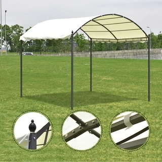 Costway 10u0027x10u0027 Outdoor Canopy Tent Garage Gazebo Shelter Awning Arch Style Beige Cover & Tents u0026 Outdoor Canopies For Less | Overstock.com