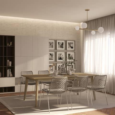 Midtown Concept 7pc Indoor Croatia Wire Brushed Wood Dining Set- Waxed Grey Oak