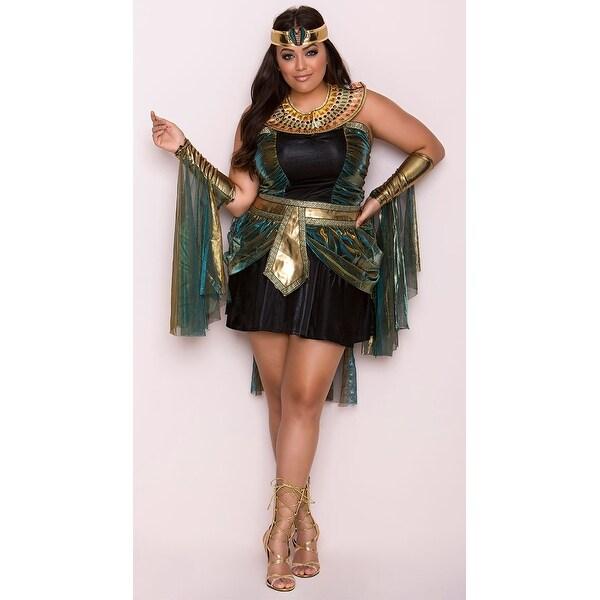 Plus Size Egyptian Goddess Costume - Black/Teal - 2X
