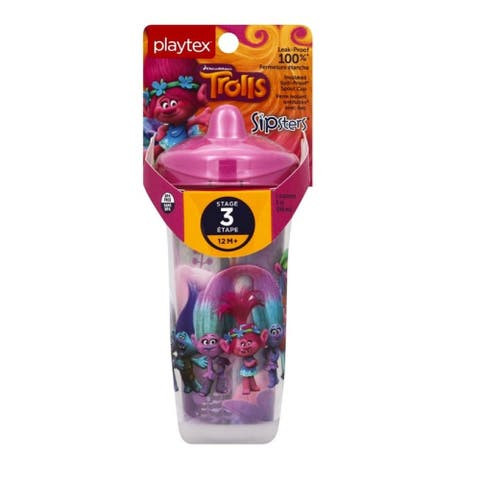 Playtex Trolls Sipsters Insulated Spill Proof Spout Cup, Stage 3, 12M+, 9 Oz