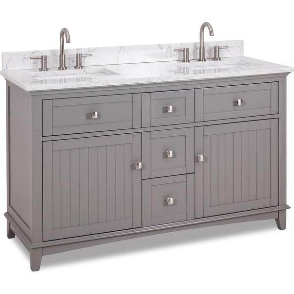 "Jeffrey Alexander VN-SAV-60-EC Savino 60"" Free Standing Single Basin Vanity Set with Wood Cabinet and Engineered Marble Vanity"