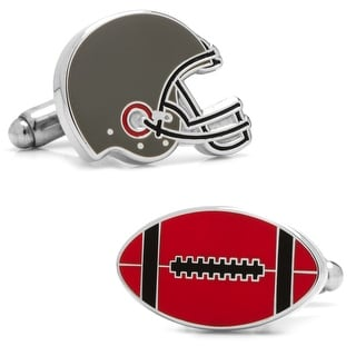 Varsity Football Black, Red, and White Cufflinks - Red