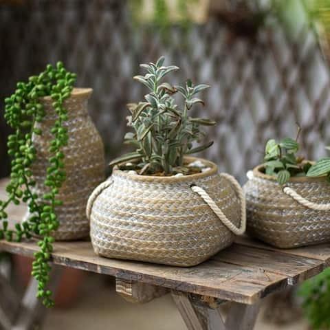 RusticReach Ceramic Planter Hemp Bag Design with Rope Handles