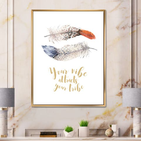 Designart 'Two Feathers Your VIbe Attracts Your Tribe' Bohemian & Eclectic Framed Canvas Wall Art Print