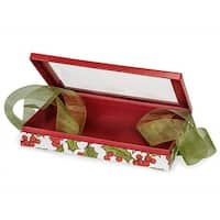 """Pack Of 12, 10 X 6.25 X 1.5"""" Single Layer Size Holly Berry Tidings Gift & Gourmet Christmas Presentation Boxes W/Ribbon"""