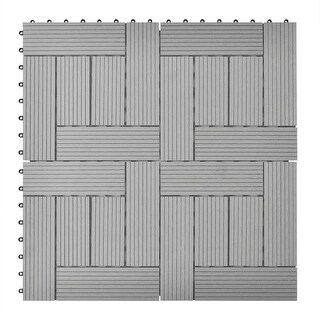 "vidaXL Gray 11 pcs 11.8""x11.8"" Decking Tiles WPC ft²"