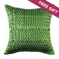 Modern Solid Green Cotton Handmade Decorative Throw Pillow Cover, 18x18