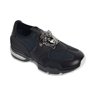 Versace Black Leather Panel Neoprene Slip On Sneakers